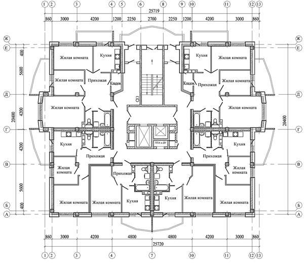 Поэтажный план одноподъездного